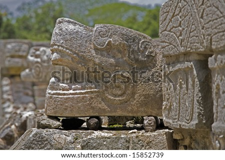 Detail of serpent carving at Chichen Itza