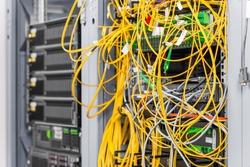 detail of server inside datacenter room