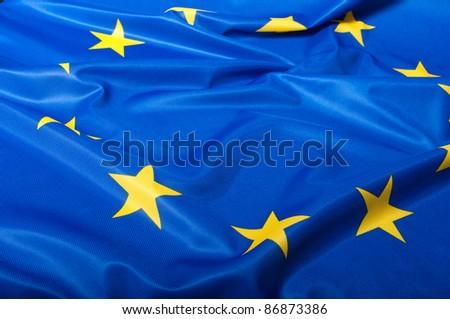 Detail of Silky Flag of Blue European Union EU Flag Drapery