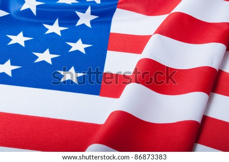 Detail of Silky National Flag of United States of America - USA Flag Drapery