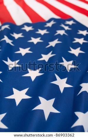 Detail of Silky National Flag of United States of America - USA Flag Drapery - Shallow Depth of Field