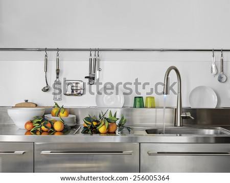 detail of sink and faucet in the modern kitchen with orange on the worktop
