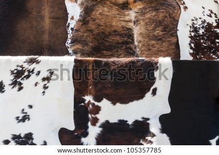 Detail of six cow hides with different patterns.