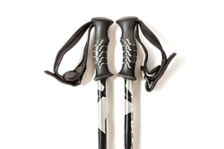 Detail of ski or trekking poles, the handle and tip closeup isolated