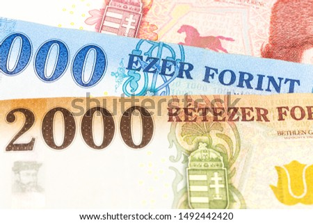 detail of some hungarian forint banknotes indicating growing economics #1492442420