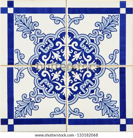 Detail of some typical portuguese tiles (azulejos) at Porto