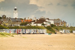 Detail of Southwold beach on a cloudy day