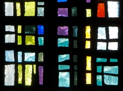 Detail of stained glass window made of chipped slab glass, located in chapel of Saint Benedict's Monastery in Winnipeg, Manitoba, Canada, designed by the late Gabriel Loire of Chartres, France