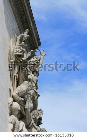 Detail of statue carving on Arc De Triumph, Paris France.