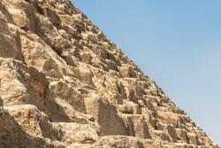 Detail of Stone Blocks of Great Pyramid of Giza Pyramid of Khufu or Cheops Giza Necropolis near Cairo Egypt
