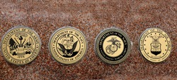 Detail of symbols of USA military army navy airforce marines