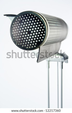 Detail of table lamp isolated on white, close up.