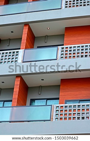 Detail of the apartment building