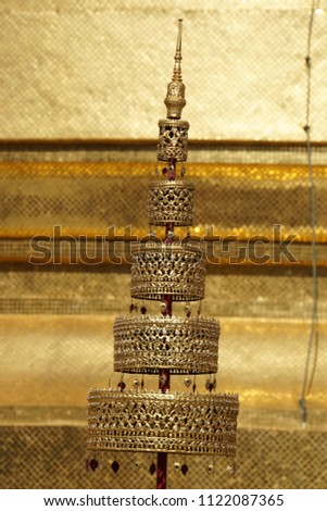 Detail of the architecture, fragment of Buddhist temples. Typical traditional object of the temple in  Grand Palace of Bangkok Metropolis, Thailand. #1122087365