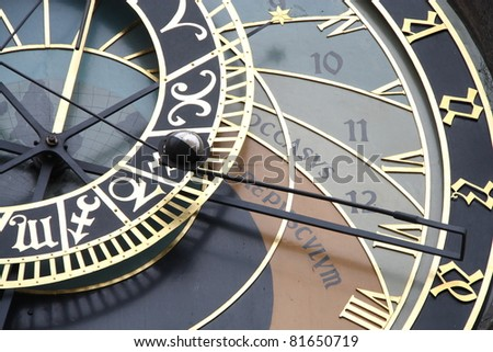 Detail of the astronomical clock in the Old Town Square in Prague, Czech Republic.