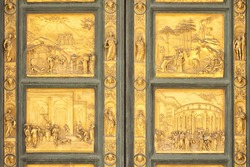 Detail of the bas-relief from the Gates of Paradise, Florence, Italy