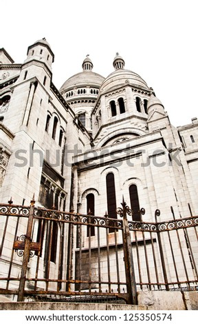 Detail of the Basilica of the Sacred Heart of Paris, commonly known as Sacr���©-C��?ur Basilica, dedicated to the Sacred Heart of Jesus, in Paris, France