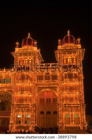 Detail of the beautiful Mysore Palace, India lit up during the Dasara festival