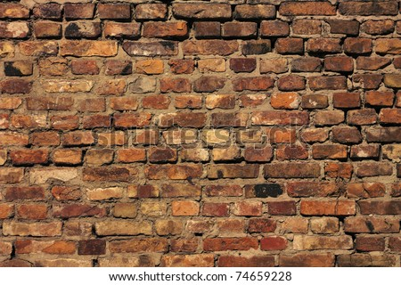 Detail of the brick walls of the old