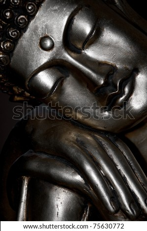 Detail of the bronze statue of sleeping Buddha