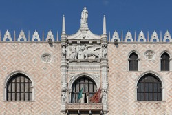 Detail of the central window on the west facade of the Doge's Palace in Venice. Facing onto the Piazzetta San Marco, the structure is a masterpiece of Venetian gothic architecture and sculpture.