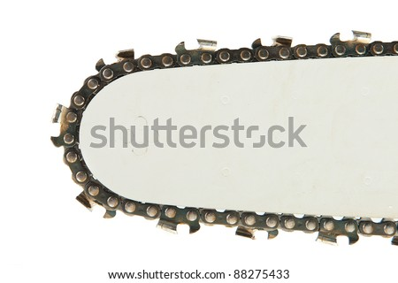 Detail of the chain saw isolated on the white background - stock photo