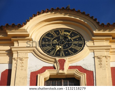 Detail of the chateau with big clock #1132118279