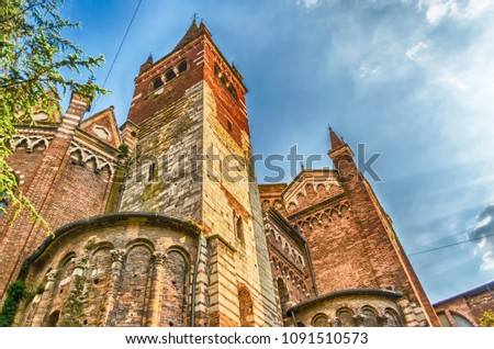 Detail of the church of San Fermo Maggiore, Verona, Italy. The church is located in the most ancient part of the city, near the Ponte delle Navi #1091510573