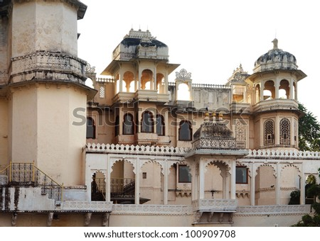 detail of the City Palace in Udaipur, a city located in Rajasthan, India