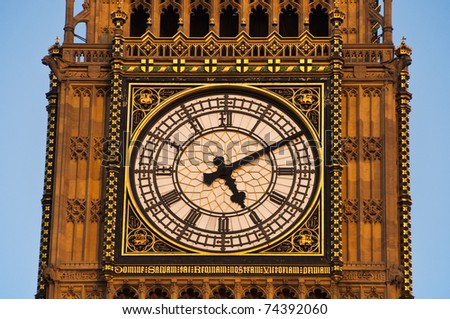 Detail of the clock Tower in London, also called Big Ben, London, UK - stock photo