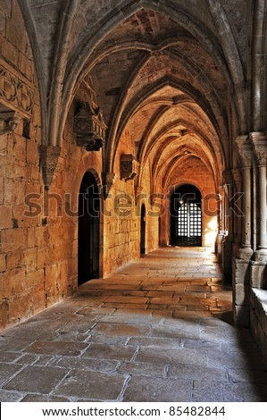 detail of the cloister of Monastery of Santa Maria de Poblet, Spain