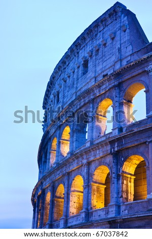 Detail of the Coliseum (or Colosseum) in Rome, Italy by night