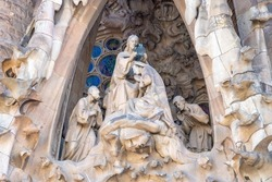 Detail of the coronation of the Virgin Mary in the facade of sacred family