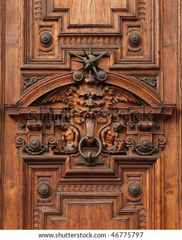 Detail of the door of an ancient rich palace