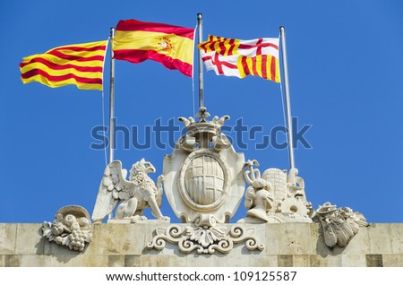 detail of the emblem of the city of Barcelona Spain