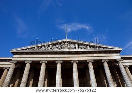 Detail of the exterior of the British Museum, London
