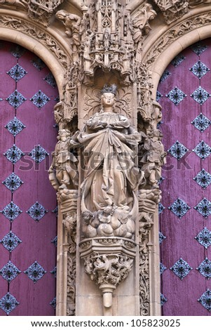 Detail of the facade to the entrance of the New Cathedral (Catedral Nueva) in Salamanca, Spain