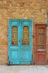 Detail of the Facade with Two Doors in Jaffa, Israel