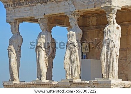 Detail of the famous caryatid porch in the Erechtheion on the Athens Acropolis, Greece
