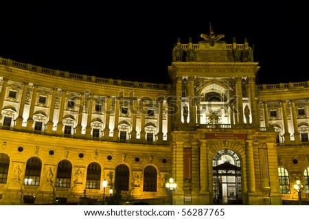 detail of the famous old Hofburg in Vienna