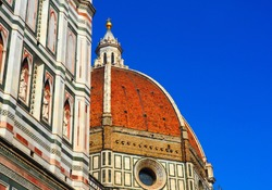 Detail of the Florence Cathedral (Duomo di Firenze, Cattedrale di Santa Maria del Fiore) in Florence, Italy