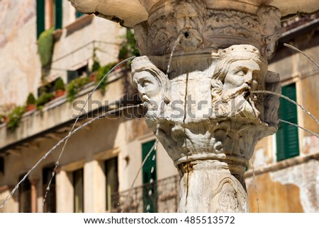 Detail of the fountain of Madonna Verona with heads of kings in Verona (UNESCO world heritage site) Veneto, Italy