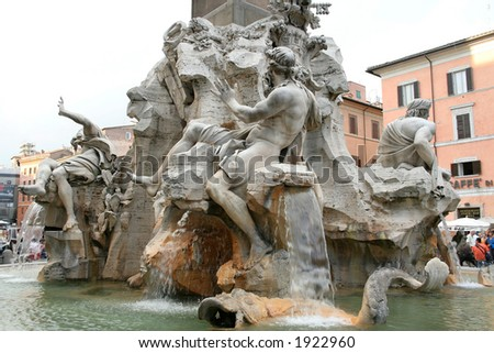 Detail of the Fountain of the Four Rivers in Piazza Navona, Rome, Italy. Master piece of Gian Lorenzo Bernini.