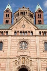 Detail of the 	front facade of SPEYER CATHEDRAL, founded 1030, it is the largest Romanesque Church in the World. 1981 It was added to the UNESCO World Heritage List of culturally important sites.