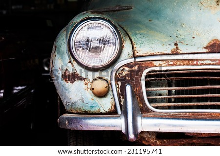 "stock photo detail of the front headlight of an old car in garage 281195741 - Каталог - Фотообои ""Автомобили"""