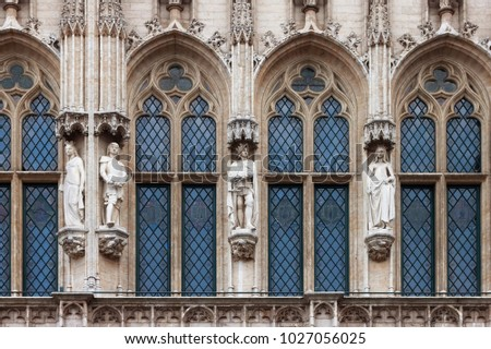 Detail Of The Gothic Architecture Town Hall Brussels Belgium 1027056025