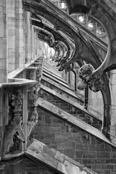 Detail of the gothic duomo in Milan, Italy - in black and white.
