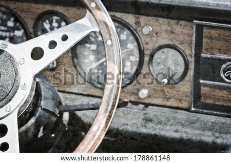 detail of the inside of an antique car