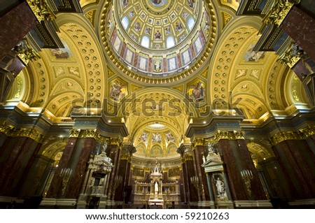 detail of the interior of St Stephan in Budapest