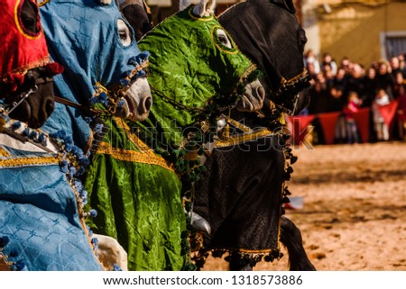 Detail of the legs of galloping horses adorned as medieval mounts mounted by knights during a festival. #1318573886